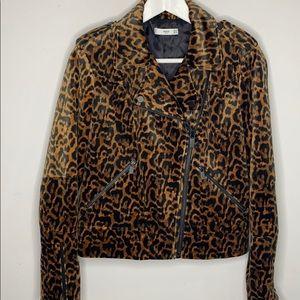 MNG leopard print Moto Jacket medium